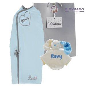 Babypakket Boelie Original inbakerdoek babyblauw met naam