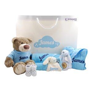 Babycadeautas babyblauw met naam