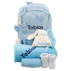 Babypakket rugtas blauw met naam