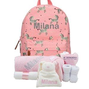 Babypakket rugtas Kidzroom zebra pink met naam