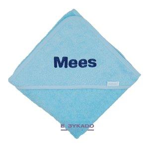 badcape babyblauw met naam