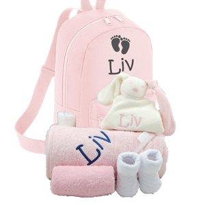 Babypakket rugtas roze met naam