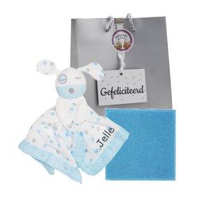 Baby cadeau knuffeldoekje Lulujo Blue Puppy met naam