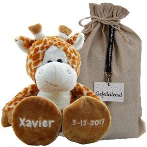 geboorte knuffel giraf met naamborduring en geboortedatum