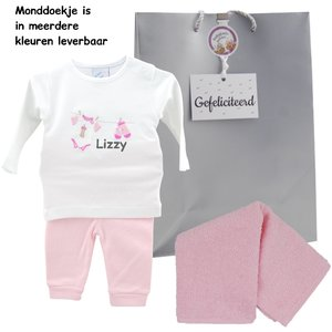 Babypakje wit waslijntje roze prematuur met naam