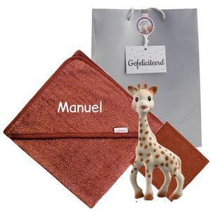 Sophie de Giraf met badcape copper met naam