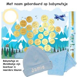 Baby cadeau Milestone krasposter Mountain Blue met naam