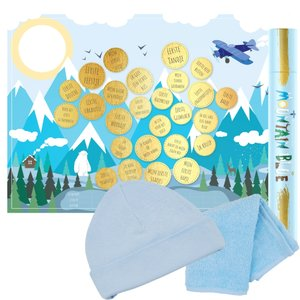 Baby cadeau Milestone krasposter Mountain Blue