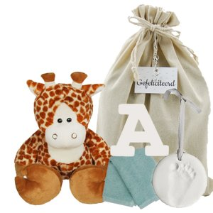 Baby Cadeauset Girafje met houten letter