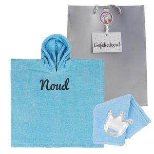 Babyponcho Funnies babyblauw met naam