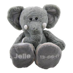 geboorteknuffel olifant met naamborduring en geboortedatum
