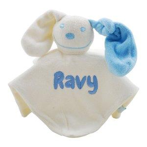 Knuffeldoekje babyblauw met naamborduring