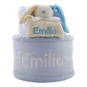 handdoekentaart babyblauw met knuffeldoekje