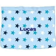 Dekentje Dooky 70x85 blauw ster met naam
