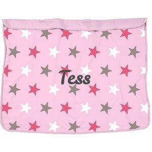 Dekentje Dooky 70x85 roze ster met naam