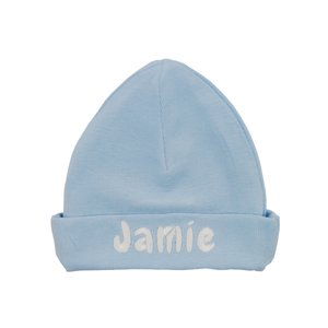 Babymutsje babyblauw met naam