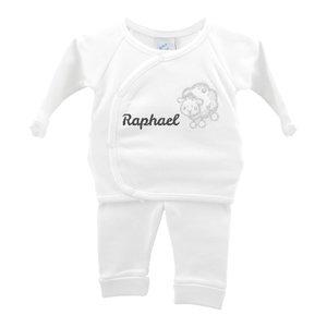 Babypakje wit schaapje prematuur met naam