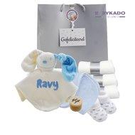 Babypakketje babyblauw met naam