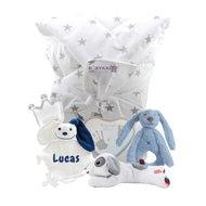 Babypakket omslagdoek navy blue met naam