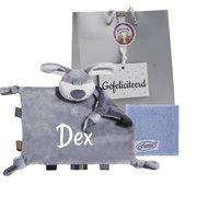 Labeldoekje hondje grijs met naam