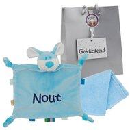 Labeldoekje hondje babyblauw met naam