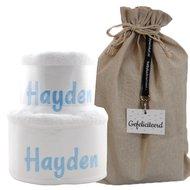 Handdoekentaart wit met naam