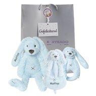 Baby cadeau Rabbit Richie blue met naam