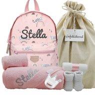 Babypakket rugtas Kidzroom mini pink met naam