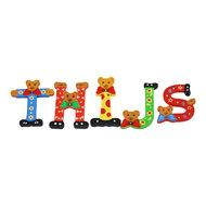 Babykado Houten Letters Beren 6 cm