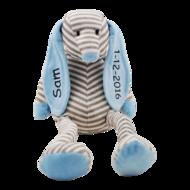 Babykado Knuffel Hond babyblauw met naambedrukking