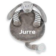 Speendoekjes Knuffeldoekje Hondje grijs stripe met naamborduring