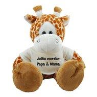 Knuffel giraf 45 cm Jullie worden Papa & Mama bedrukt