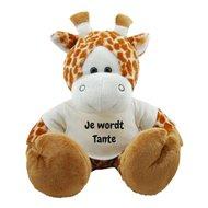 Knuffel giraf 45 cm Je wordt Tante bedrukt