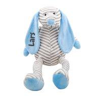 Knuffel Hond babyblauw met naambedrukking