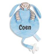BabyKadowinkel, Speendoekje Hondje babyblauw stripe met naamborduring