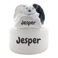 Handdoekentaart en knuffeldoekje wit met naam