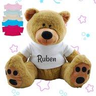 Knuffel beer bruin met naam op shirtje